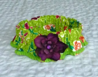 "Dog Ruffle Collar, Pet Bandana, Flowers and Dragonflies Dog Scrunchie Collar with eggplant delphinium - Size L: 16"" to 18"" neck"