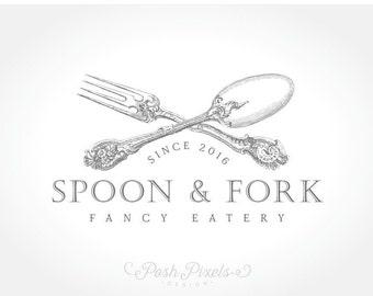 Logo Design (Premade) Restaurant logo, Food logo, Spoon logo, Fork Logo, Business logo, Landscape logo, Elegant logo