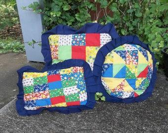 3 Ruffled Quilt Pillows Vintage Quilted Porch Pillows Primitive Antiques Decorative Pillow Farmhouse Pillows