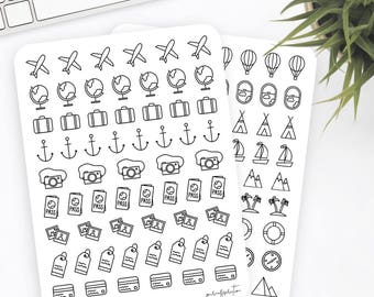 Travel Stickers | Icon Stickers | Planner Stickers | Bullet Journal Stickers
