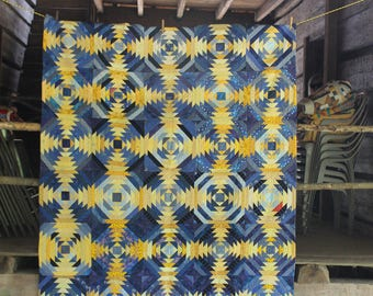 Blue and yellow pineapple