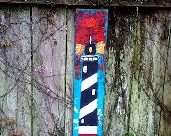 "Sunset Lighthouse OIL Painting Reclaimed Barn Wood Light House Art By Scott D Van Osdol Coastal Nautical Barnwood Light House 28-1/2"""