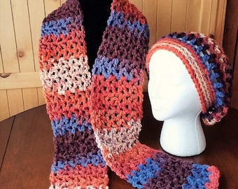 Slouch Hat and Scarf Set, Crochet Scarf Set