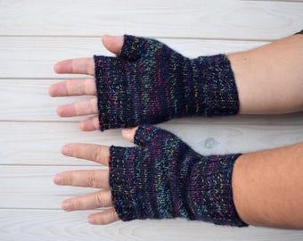 Mens fingerless gloves Hand knitted mittens  Mens handwarmers  Wool fingerless mitts Gift for men