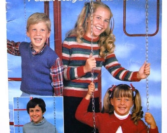 Leisure Arts Sweaters & Vests for Children Leaflet No 234 Knitting Patterns for 7 Classic Designs for sizes 4 to 14