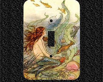 Light Switch Plate Cover- Vintage Mermaid with Fish Illustration