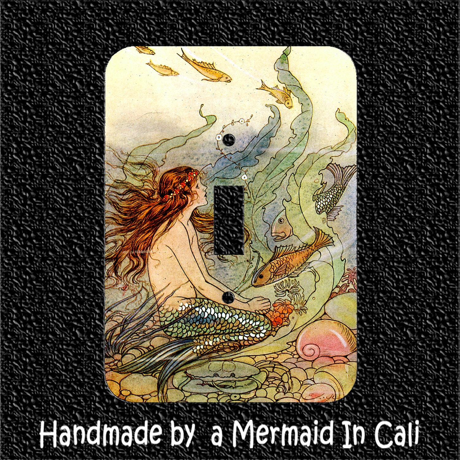 Light Switch Plate Cover Vintage Mermaid With Fish