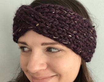 Purple Tweed Twist Headband - Soft Knitted Headband - Adult Size