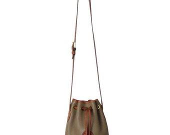 Vintage Dooney & Bourke Taupe Pebbled Leather Mini Drawstring Bag With Adjustable Strap