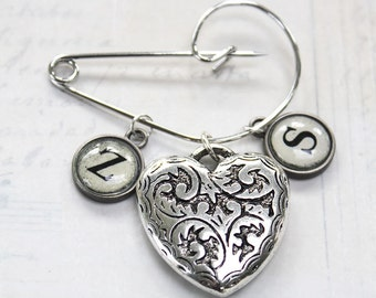 Personalised Heart Brooch Shawl Pin