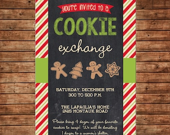 Christmas Cookie Exchange Swap Invitation  - Can personalize colors /wording - Printable File or Printed Cards