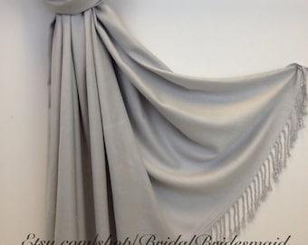 Wedding Season SALE - Light Gray PASHMINA -light gray- bridal scarf - silver pashmina - silver shawl - silver wrap - wedding silver wrap