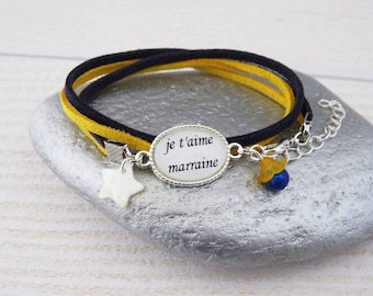 """Bracelet """"I love you godmother"""" Navy Blue Suede cord and yellow"""