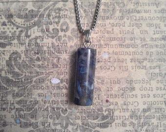 Petite Cylindrical Natural Blue and Black Marbled Agate Semi Precious Stone Pendant on 925 Grade Sterling Silver Necklace