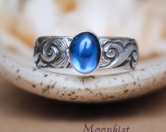 Blue Sapphire Promise Ring - Sterling Silver Sapphire Engagement Ring - Wide Scroll Wedding Ring - Gemstone Ring - September Birthstone Ring