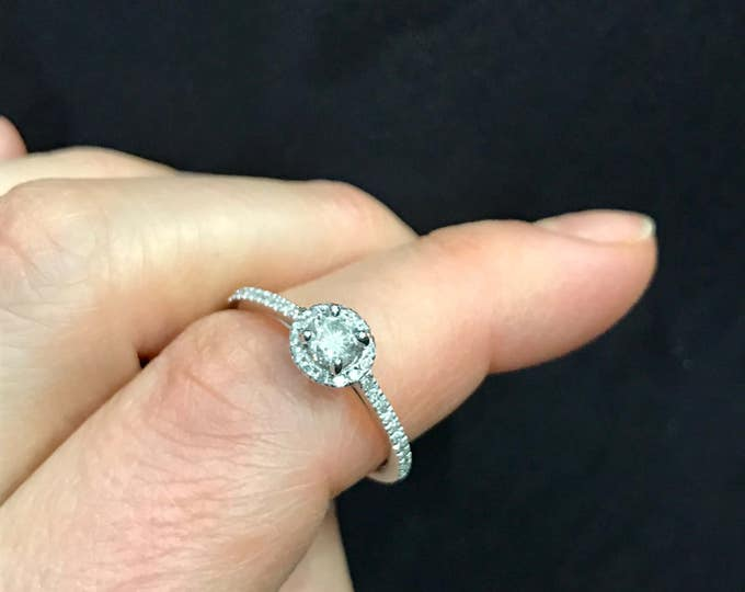 Diamond Solitaire Ring--Pave Diamond Band--Diamond Ring--Diamond Engagement Ring