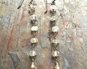 Sterling silver dangle earrings with moonstone and citrine gemstones