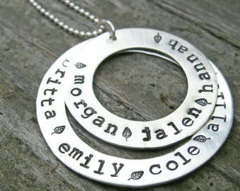 Mother's Necklace, Personalized necklace, Washer necklace, Hand stamped mommy necklace, sterling silver mom jewelry