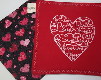 Valentines Day Hot Pads, Hot Pads with Valentines Hearts, Hearts on Hot Pads, Red Kitchen Linens, Valentines Day Decorations