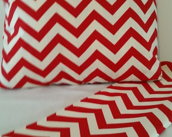 Red/Ivory pillow Covers, Red chevron Pillow covers,  pillow covers,  pillow, red pillow covers