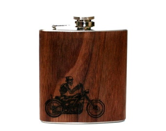 Wood biker skeleton flask, personalized gift, Motorcycle
