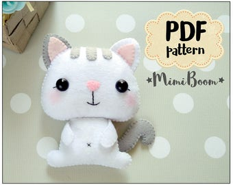 Cat felt pattern PDF ornament Cat pattern PDF tutorial Felt sewing Animals sewing pattern DIY sewing pattern felt Cat plushie