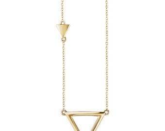 Petite Triangle Pendant Necklace, Gold Triangle Pendant Necklace