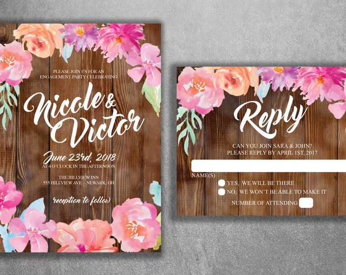 Floral Barn Wood Wedding Invitations Set Printed, Country Wedding Invitation, Southern Wedding Invitations, Floral, Watercolor Flowers