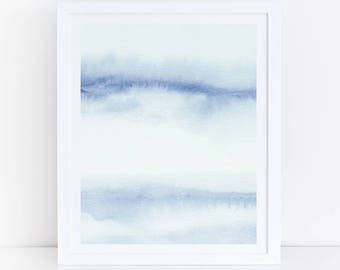 Blue Watercolor Print, Abstract Watercolor Print, Vertical Art, Calming Art, Abstract Sky, Blue Abstract Art, Printable Art, Large Art, Blue