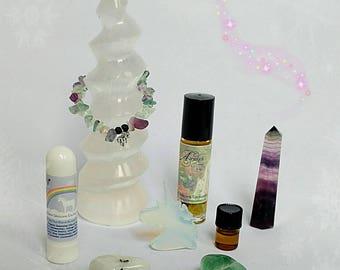 Rainbow Unicorn Luxe Gift Box filled with Aromatherapy, Gemstones, Jewelry, Love, Rainbows & Unicorns