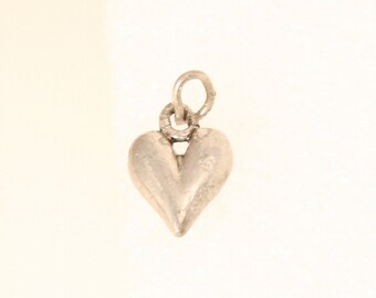Vintage  Silver Heart Charm Pendant Fob