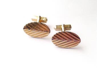 Vintage Cufflinks by Swank - 1940s Swank Cuff Links - Chevron Cufflinks - Vintage Men's Jewelry - Retro Fashion - Minimalist Men's Jewelry