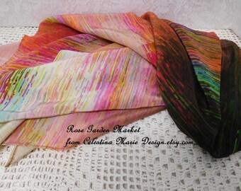 Silk Square Spring Designer Scarf, Hand Designed Watercolor Fabric, Photo Art, Original, Wearable Art, ECS