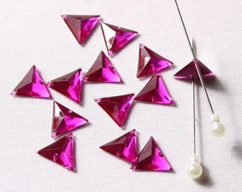 11 13mm stones, acrylic, magenta, 2 hole sewing (8939)