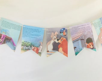 Lady and the Tramp Story Book Pages Bunting Pennants Nursery Decor Baby Shower Birthday Party Garland Flags