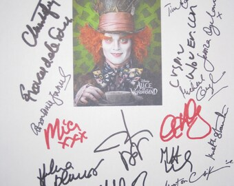 Alice in Wonderland Signed movie Film Screenplay Script X21 Johnny Depp Tim Burton Anne Hathaway Helena Bonham Carter Crispin Glover Autogra