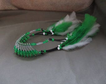 Car accessories for men ,Beaded  headdress, Rear view mirror charm, Car charm, Beaded bonnet ,Green and clear car accessories for her
