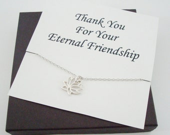 Lotus Charm Sterling Silver Necklace ~~Personalized Jewelry Card for Best Friend, Sister, Bridal Party, Sister in Law, Graduation, Cousin