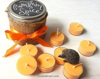 Pumpkin Spice Chalkboard Candle Fall Decor Home Autumn Pumpkin Spice Fragrance Soy Tea Light Candles Custom Message Personalized