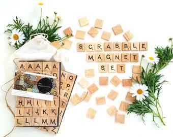 Wooden Scrabble Tile Alphabet / Letter Fridge Magnets - 70 Piece Set