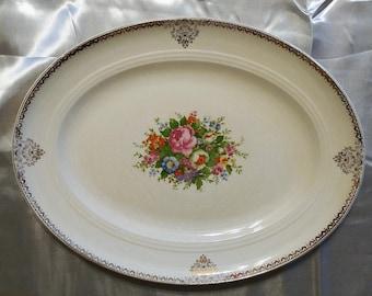 "Salem Symphony China Serving Platter with 23 karat gold and floral pattern Large 12"" x 16"""