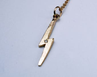 Gold Lightning Bolt Necklace with White Diamond