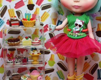 Dollhouse Barbie Blythe DAL Pullip Icy Monster High Stackable Cake Cabinet