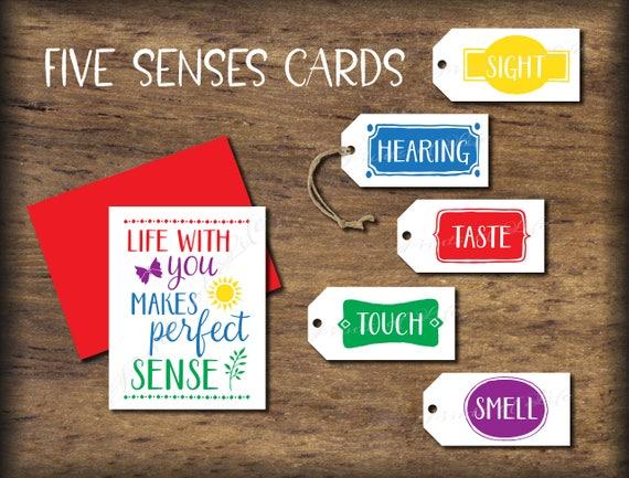 Five Senses Gift Tags Amp Card 5 Senses Instant Download Printable Perfect Sense Print