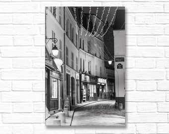 Paris Photography on Canvas - Winter Night, Rue Norvins,  Gallery Wrapped Canvas, Black and White Urban Home Decor, Large Wall Art