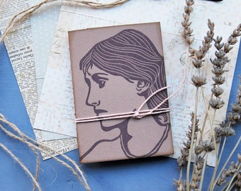 Virginia Woolf, handmade mini notebook with recycled paper, handprinted mini journal, writers journal, gift for her, librarian gift