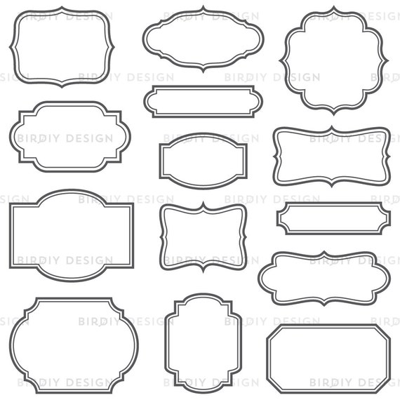 Vintage Frames Clip Art Set Frames with Solid Lines Vector