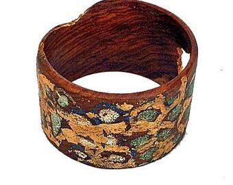 Wood Bracelet Bangle Lapis, Turquoise and Gold