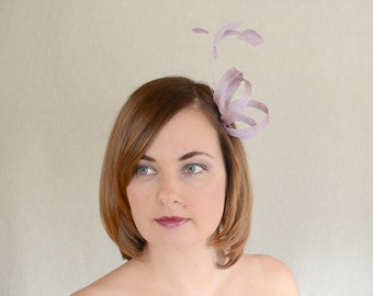 Lilac Sinamay and Feather Fascinator - Bridesmaid Fascinator - Minimalist fascinator