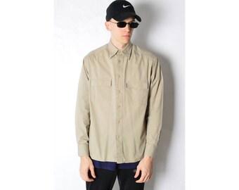 Vintage 90s Beige Minimalist Shirt Size S/M 15_51117_M